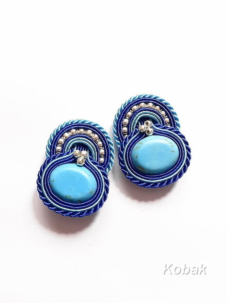 in blue clip on earrings kobakbijoux